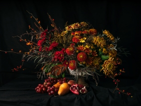 Fall compote arrangement by Boston and Burke floral design