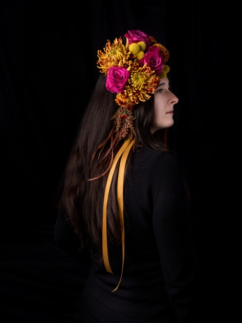 Fall floral headdress by Boston and Burke Floral Design