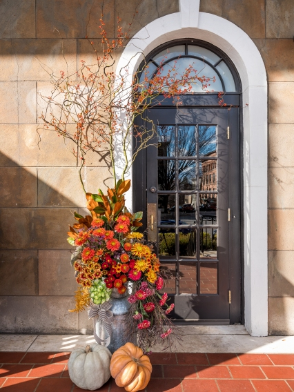Fall door decor at Adelphi Hotel, Saratoga Springs, by Boston and Burke floral design