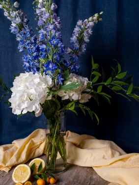 Hydrangea and Delphinium arrangement