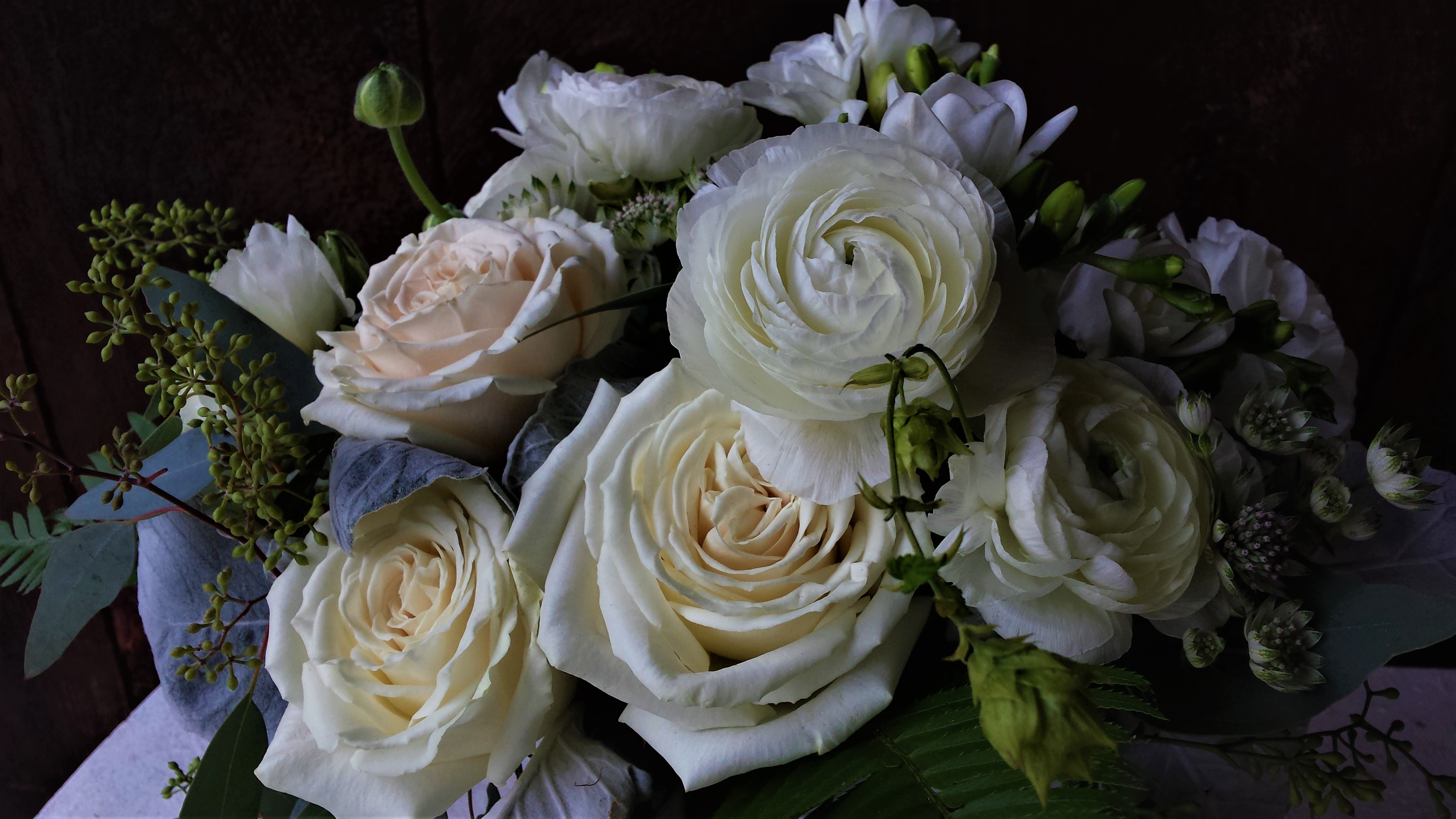 White and Green Bridal Bouquet Detail