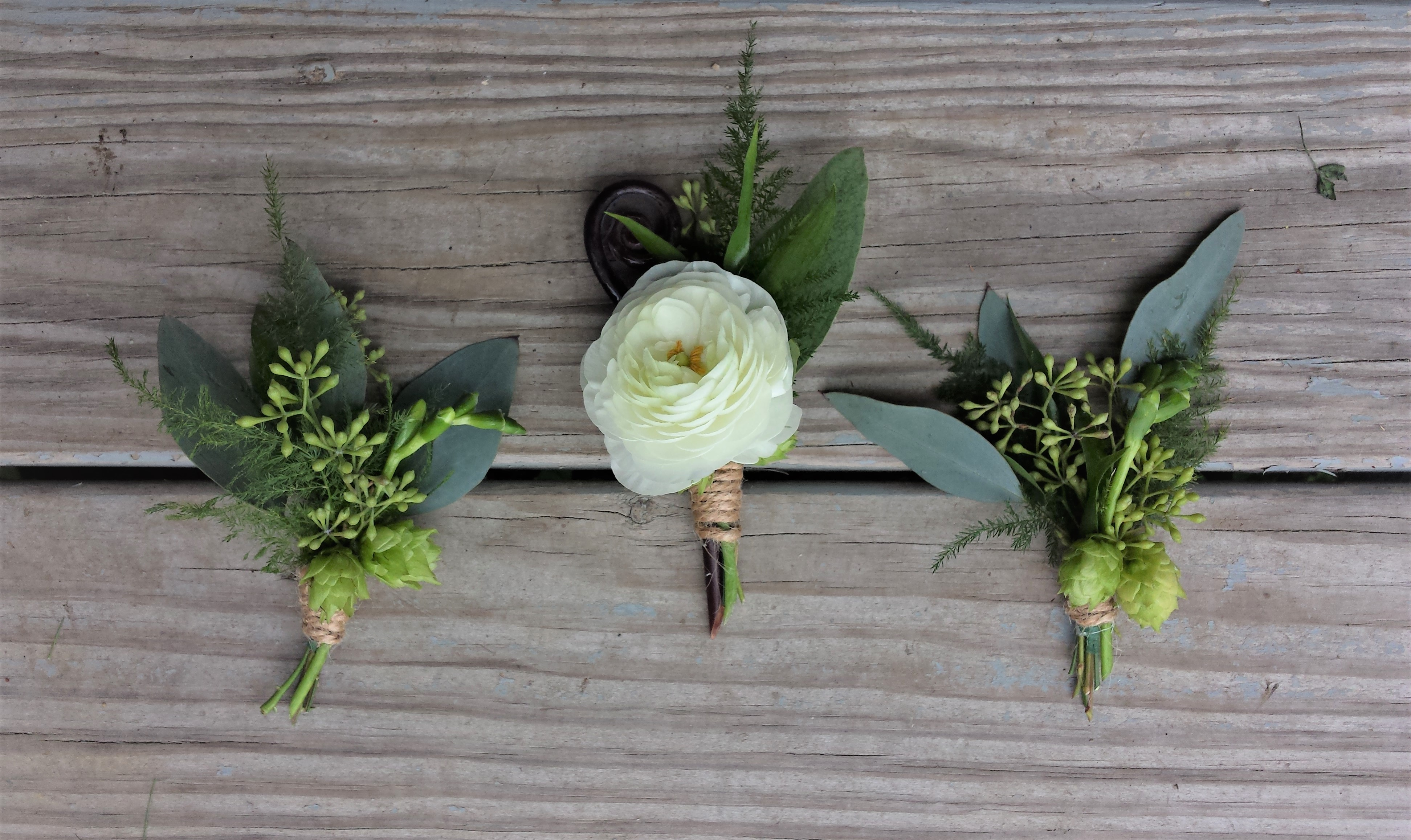 White and Green Boutonnieres with Hops