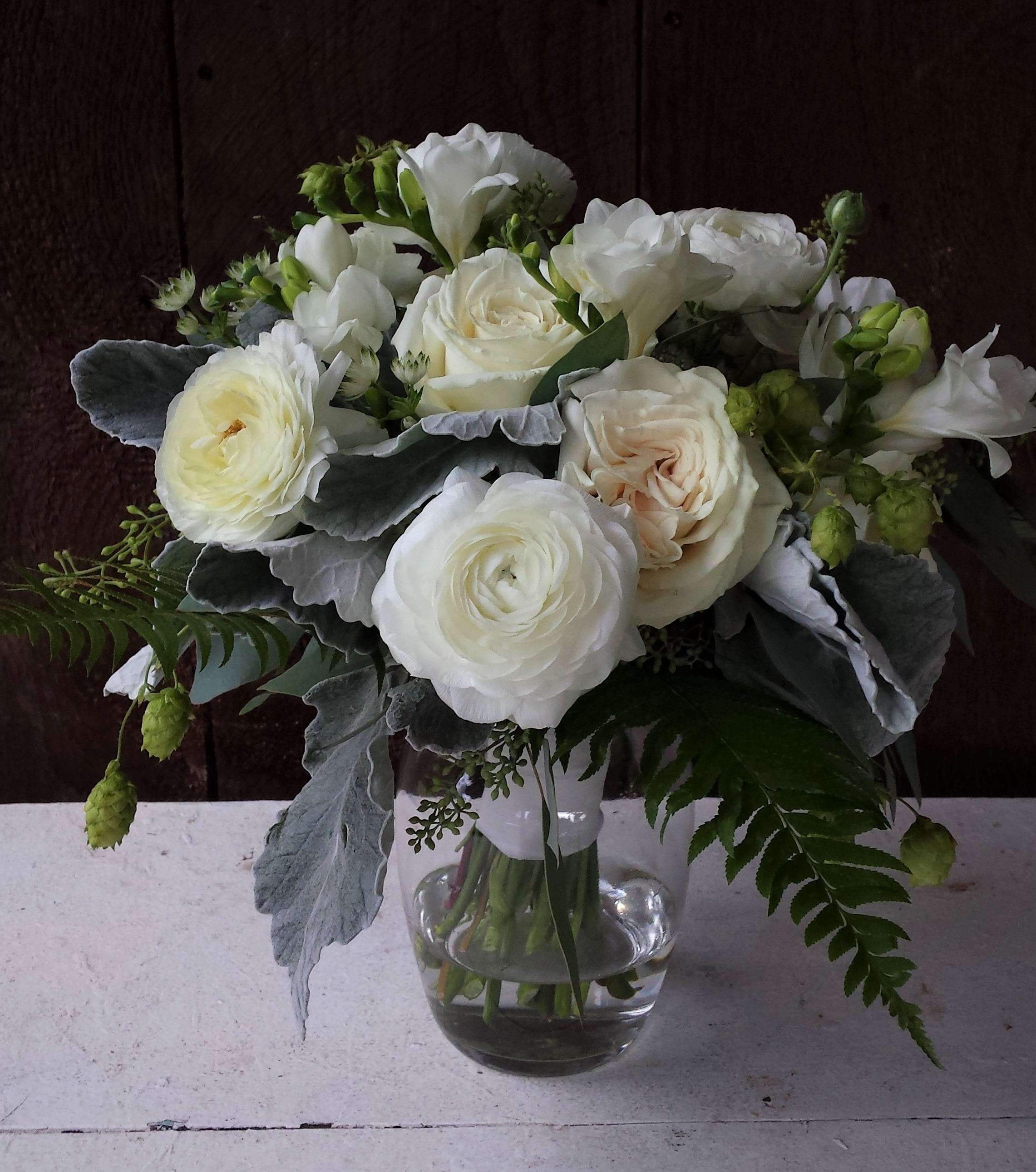 Classic white and green wedding bouquet