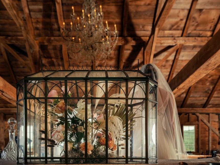 Wedding centerpiece in vintage terrarium